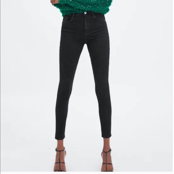 Zara Trafaluc Denim Collection Black Skinny Denim Jeans Women's Size 8 Preowned